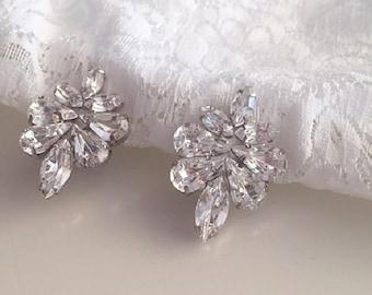 Clear swarovski Clip On earrings, Bridesmaids earrings,Bridal Vintage Style crystal Earrings,  Wedding Clip On swarovski earrings,