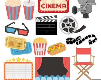Movie Night Digital Clipart