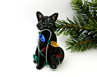 Black Cat PORCELAIN Christmas Ornament Figurine Lights OOAK