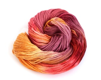 Hand dyed wool DK, double knitting falkland merino, light worsted crochet yarn skein, uk Perran Yarns, Sunset Party, pink purple orange red