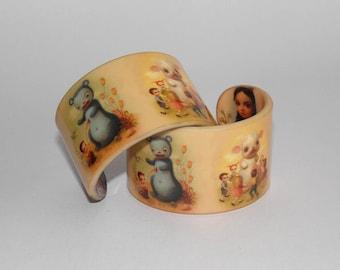 Mark Ryden pop surrealism - art design bracelet cuff beige bangle lowbrow art jewelry