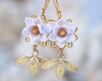 White Magnolia and Leaves Earrings. White Magnolia Bridal Earrings. Magnolia Jewelry. Magnolia Flower and Leaves. KATE