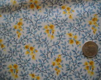 "Vintage glazed chintz, ""cornflower ""pattern by P Kaufmann  yellow flowers, blue leaves on white background"