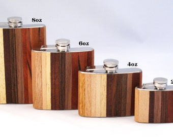 8oz Exotic Ombre Wood Flask Limited Edition