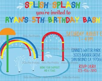 Splash Pad Birthday - water birthday, pool party - printable or printed invitation