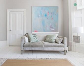 "Blue abstract print of painting with pink,  modern light blue GICLÉE PRINT ""The Shepherd Haze Blue"""