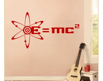 Vinyl Wall Decal ATOMIC Symbol EINSTEINS Formula Theory of Relativity S-110