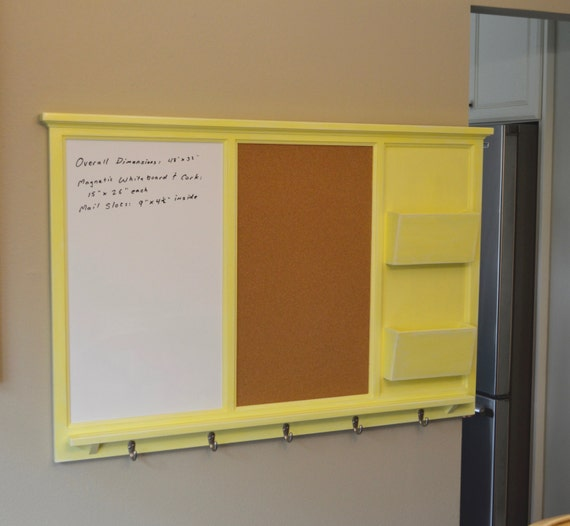 XL Magnetic White and Cork Board with dual mail slots
