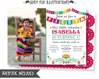 Fiesta Picture Invitation, Fiesta Birthday Invitation, Mexican Fiesta Invitations, Hispanic Invitation, Fiesta Printables, Personalized, DIY