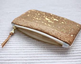Gold Cork Leather Coin Purse - coin purse - cork purse - vegan purse