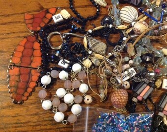 Grab Bag of Jewelry Bits and Pieces, earring, beads, baubles! Destash