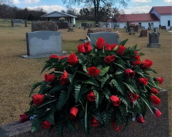 Cemetery Flowers, Grave Decoration Double Headstone Saddle, Memorial Arrangement, Gravestone Decoration, Grave Saddle, Red Roses, Spring