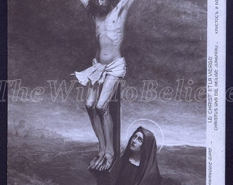 RPPC Christ and The Virgine,  Christ on The Cross, Vintage religious postcard, Crucifixion, Greeting Card Jesus Christ, Mother of Jesus /nz