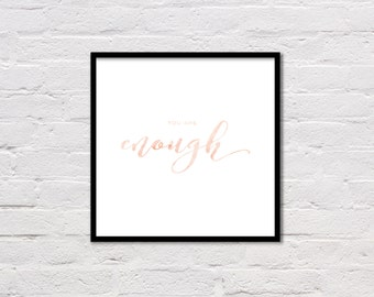 You Are Enough, Quote Print, Motivational Poster, Inspirational Art, Typography Print, Coral Art, Bedroom Decor, Minimalist Word Art