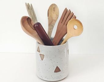Floating Triangles Ceramic Utensil Holder, white pottery ceramic spoon crock, wheel thrown pottery kitchen storage, kitchen tool organizer