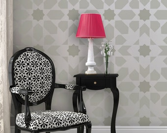 Moroccan Wall Stencil Stella - Reusable stencil patterns for DIY decor
