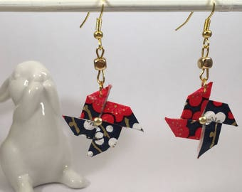 Origami pinwheels paper washi and Golden bead earrings