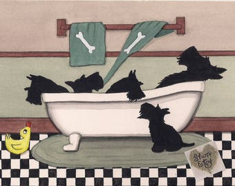 Scottish terriers (scotties) fill bathtub / Lynch signed folk art print