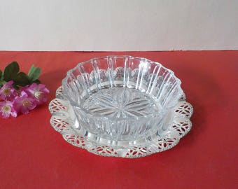 Lead crystal Bowl lead crystal Bowl Konfekt Bowl candy dish on ornate Cromargan dish 1960s