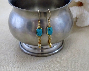 Turquoise Earrings - Genuine Turquoise Nuggets - Gold Plated Herringbone  Wire Wrap -Gift for Her