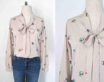 Vintage 1980's blouse TAUPE ASCOT neck abstract print - S/M
