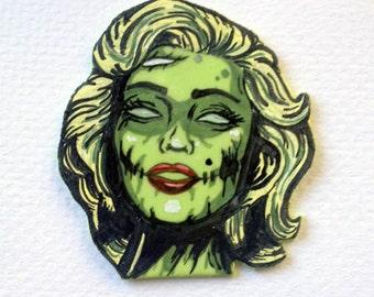 Zombie Marilyn Monroe Fondant Cupcake Topper