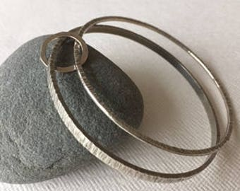 handmade sterling silver textured bangles