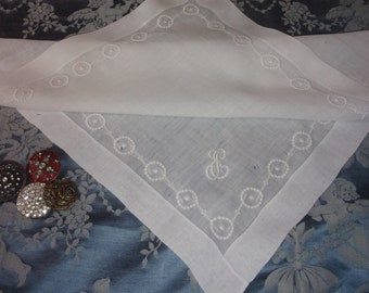 Fine vintage wedding hankie, embroidered, collection, 19 th