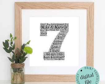 7th ANNIVERSARY GIFT - Word Art - Printable Gift - 7 Year Anniversary - 7th Wedding Anniversary - Wool Anniversary - Personalised Gift