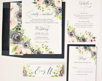 Navy and Blush Wedding Invitations - Floral - Wedding Invitations - Navy & Blush Blooms Collection Sample Set