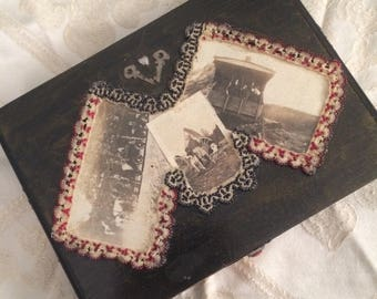 Upcycled Wood Cigar Box with Vintage Photos and Beads