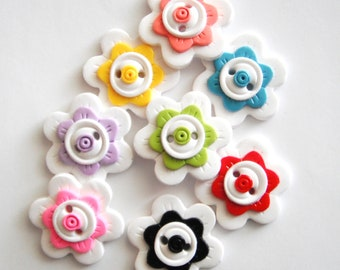 Button Pick a Pair of Flowers handmade polymer clay buttons ( 2 )