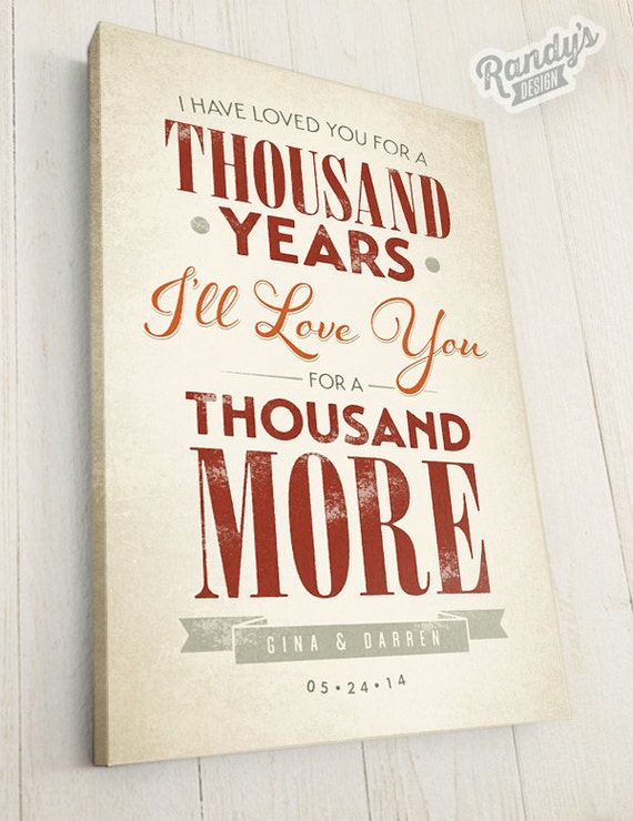 Canvas Lyrics A Thousand Years Rustic Vintage Style