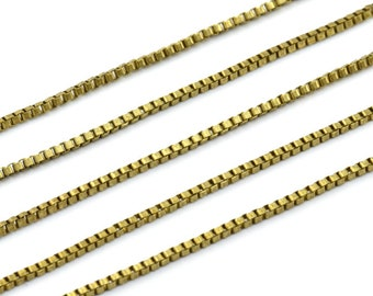 Cube Brass Chain, 2 M - Cube Raw Brass Chain (1.8mm) Z070