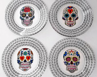 Sugar Skull Plates, Sugar Skull, Hand Painted Glass, Day of the Dead, Dia De Los Muertos, Sugar Skull Wedding, Spanish Wedding, Wedding Gift