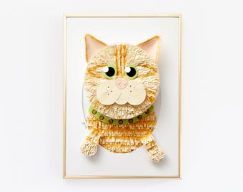 """Custom Cat Portrait. Custom made from a Photo of your Pet. 5 x 7"""""""