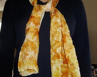 Silk Scarf - Naturally Dyed, Yellows and Oranges