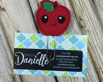 Apple for Teacher Bookmark, Appreciation Gift, Planner Paper Clip - Red