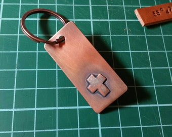 Rustic Copper Cross Keyring Keychain
