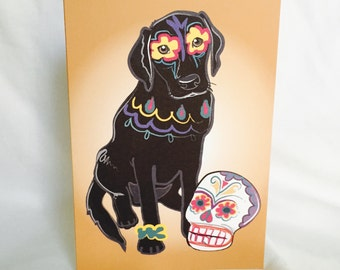 Muertos Black Lab Greeting Card