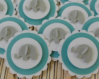 Elephant Cupcake Toppers - Gray, White and Teal - Gender Neutral - Baby Showers - Birthday Party Decorations - Set of 12