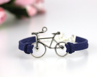 Silver bike charm bracelet Faux suede cord Bicycle jewelry Cycling bracelet Gift for cyclist under 10 Bike rider jewellery Outdoor sports
