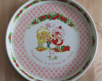 Vintage Strawberry Shortcake serving tray 'Friendship is a treat to share!' Lemon Meringue & Strawberry Shortcake with Custard