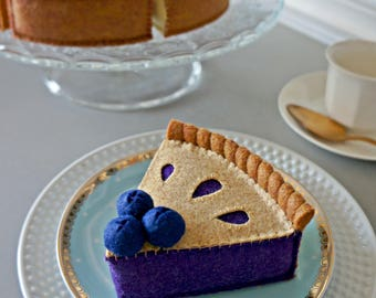 Felt Blueberry Pie-Felt Food Pretend Play Tea Party