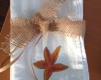 Starfish Illustrated Flour Sack Cotton Napkins Dining Decor Set of 2 Ocean Theme Beach Theme Gift