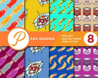 Pop Art digital paper, commercial use, scrapbook papers, background - PA01