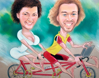 Custom caricature, Caricature Gift, Hand Drawn, Personalised,BIke,Sport, from Photo,Custom Personalized, Hand Painted,2 Person, pastel, Cool