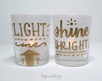 Hand Lettered Votives for Tea Candles - Set of Two