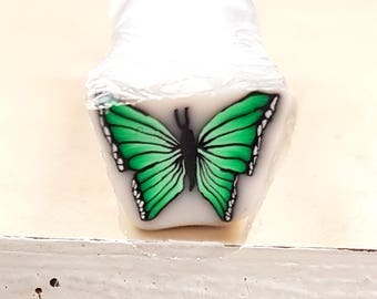Bright Green Butterfly Cane, Polymer Clay Flutterby, Green Bug Raw Unbaked Cane
