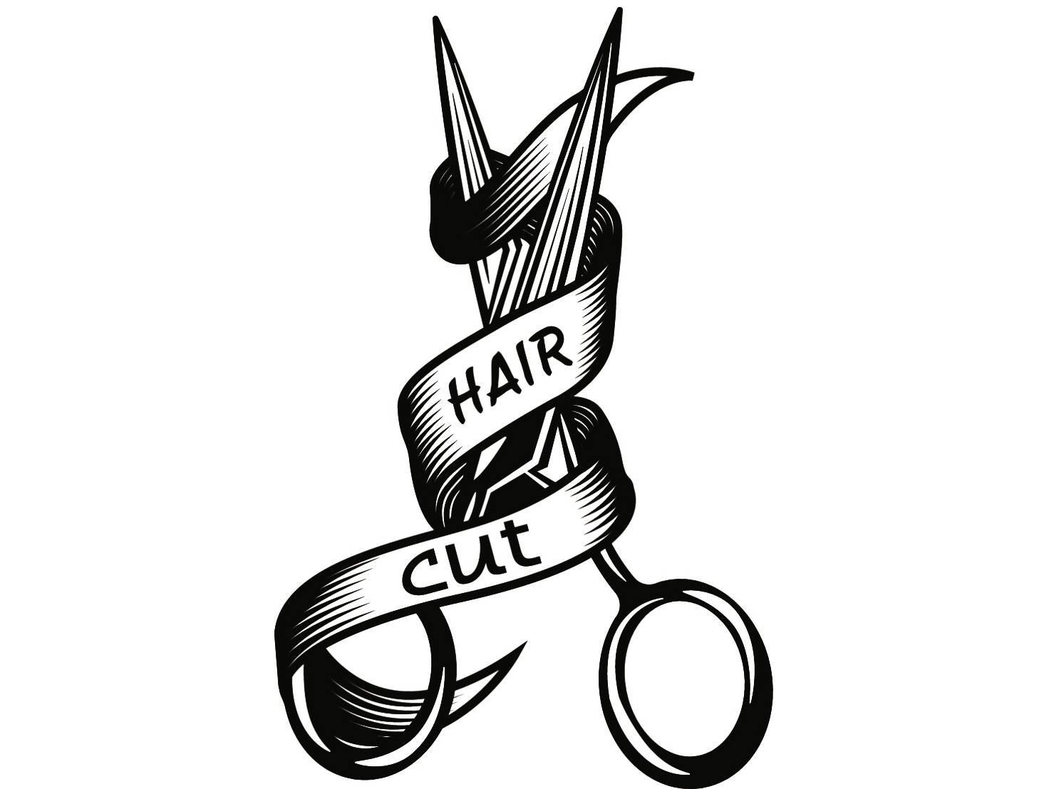 Hairstylist Logo 3 Scissors Salon Barber Shop Haircut Hair